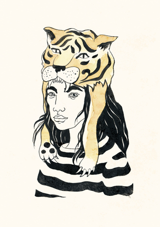 Tiger women – Tusche und Wasserfarben auf Papier / Ink and watercolours on paper